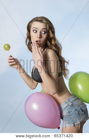Summer Girl With Balloons
