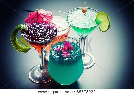 Molecular mixology - Four Cocktail with  caviar  poster