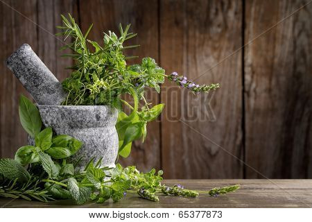 herbs in mortar on wooden background