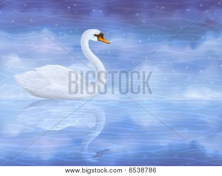 Swan Reflecting In Water