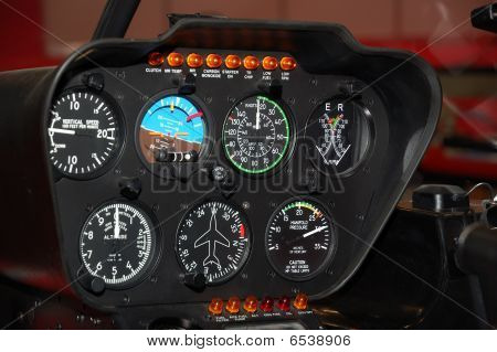 Control Panel In A Helicopter Cockpit