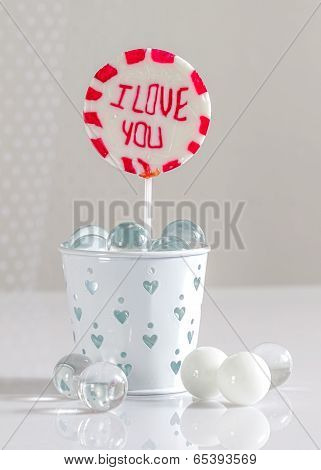 Lollipop with I love you