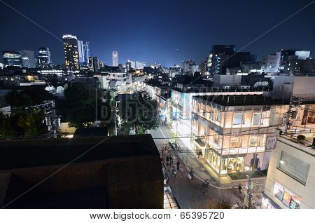 Tokyo - Nov 24: Aerial View Of Omotesando Areas At Night
