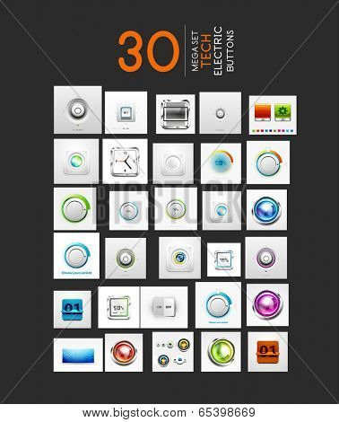 Mega collection of vector UI buttons set. 30 design elements - switch progress bars controllers counters volume knobs
