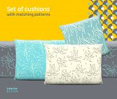 Set of cushions and pillows with matching seamless patterns. Interior furniture design elements. EPS10 vector meshes transparencies used. Pattern swatches included poster