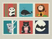 A collection of mammal animals. Panda in the bamboo forest; Gray whale swim in the ocean; Lion on the grassland; Koala climb up the tree; Formosa black bear with little baby; Bat fly under the moonlight. poster