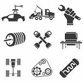 set of 9 automotive icons, car parts and garage icons poster