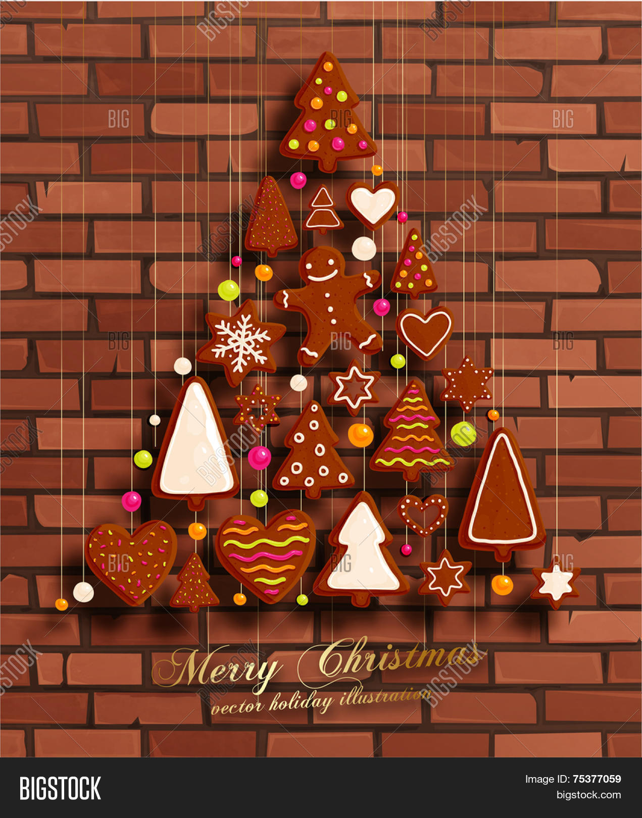 hanging gingerbread christmas cookies for xmas decoration brick wall texture background vector