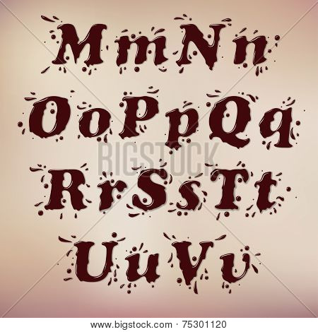 Dark Chocolate Splash Font. Set Vol.1 M-u