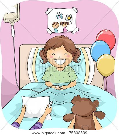Illustration Featuring a Little Girl Being Visited by Her Friends in the Hospital