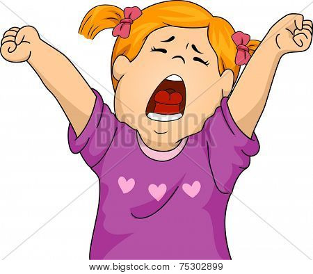 Illustration Featuring a Girl Letting Out a Big Yawn