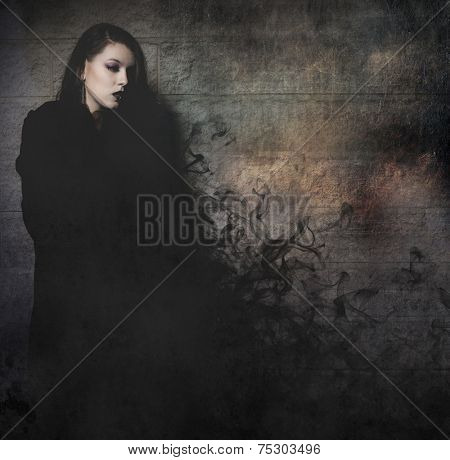 Gothic young with long black cape, fantasy