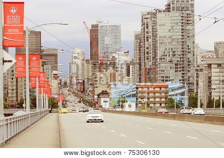 City View From Granville Bridge. Vancouver.