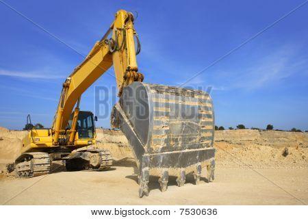 Excavator Yellow Vehicle Sand Quarry Outdoor Blue Sky