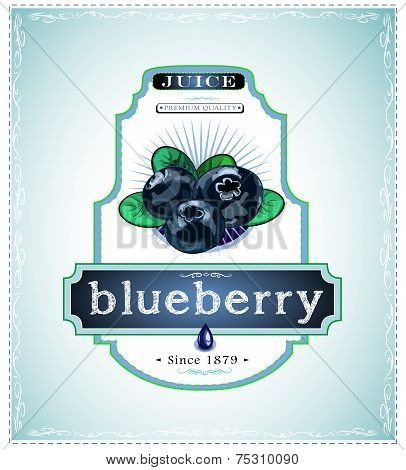 Three blueberries on product label
