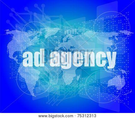Pixeled Word Ad Agency On Digital Screen 3D Render
