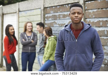 Gang Of Teenagers Hanging Out In Urban Environment poster