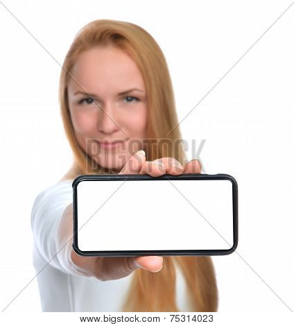 Happy Woman Show Display Of Mobile Cell Phone With Blank Screen
