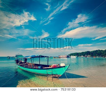 Vintage retro effect filtered hipster style image of Boats in Sihanoukville, Cambodia
