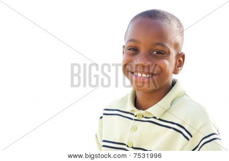 Handsome Young African American Boy Isolated On White