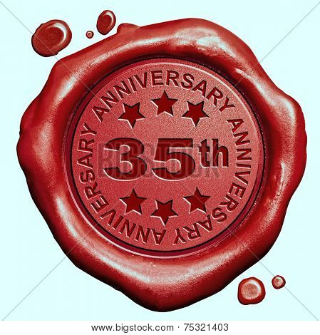 35th anniversary thirty five year jubilee red wax seal stamp  poster