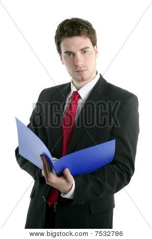 Businessman Holding Blue Open Folder