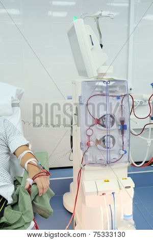 dialysis equipment in an interior of a hospital