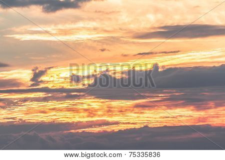 Sky Warm Colors Landscape With Clouds