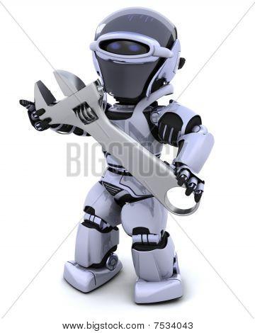 Roboter und verstellbarer Schraubenschlüssel