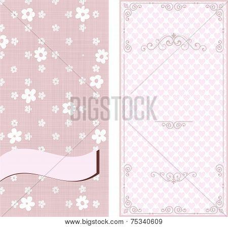 Set Of Invitation Cards On Vintage Floral Background