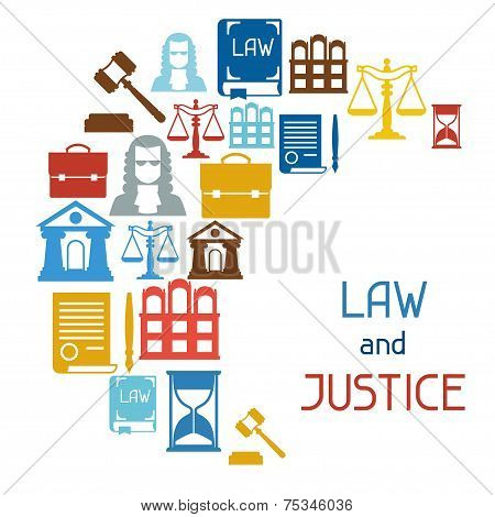 Law and justice icons background in flat design style.