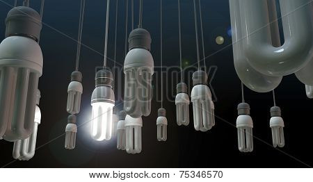A concept image showing unlit dangling flourescent light bulbs with one shining brighly showing leadership and innovation on an isolated dark background poster
