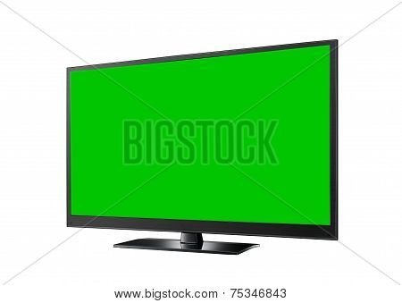 Tv With Green Flat Wide Screen