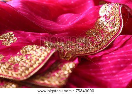 Indian bandhej saree cloth fabric texture