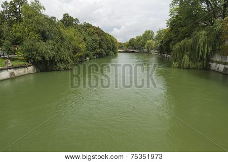 River Isar As It Flows Through Munich, Germany