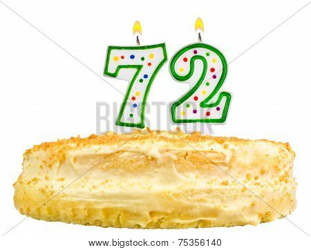 Birthday Cake Candles Number Seventy Two Isolated