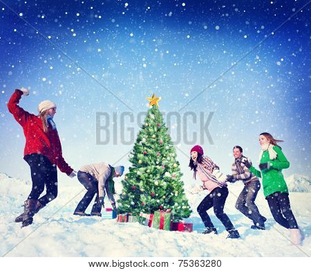 Christmas Snowball Fight Winter Friends Yuletide Concept
