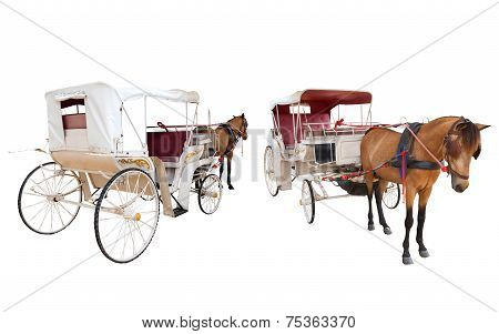 Front And Rear View Of Horse Fairy Tale Carriage Cabin Isolated White Background Use For Transport D