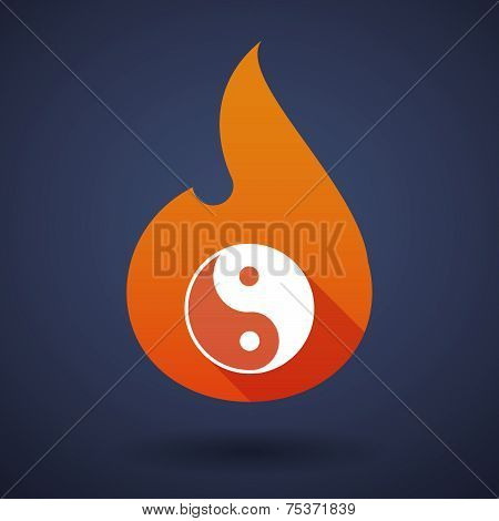 Illustration of a flame icon with a ying yang poster