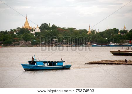 View Of Ayeyarwady River And Sagaing Hill In Background,Myanmar.