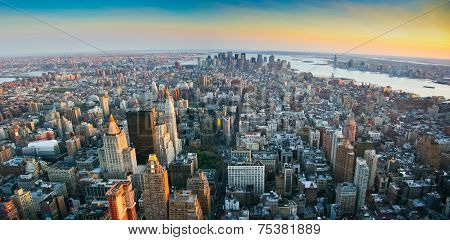 Aerial panoramic wide angle view over lower Manhattan New York from Empire State building top at sunset in 2007 poster