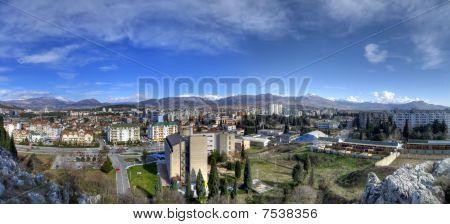 Capital city of Montenegro(Crna Gora)Podgorica,panorama from hill Ljubovic. poster