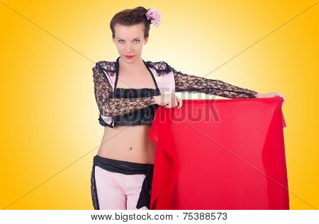 Woman toreador isolated on the white