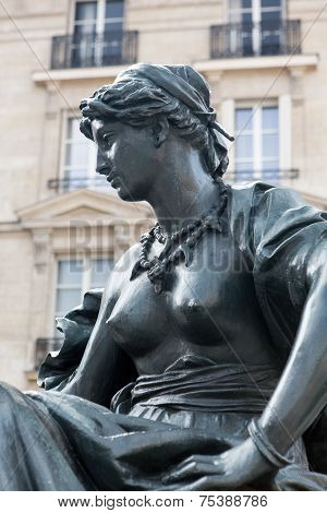Paris - Statues of six continets in front of Orsay Museum