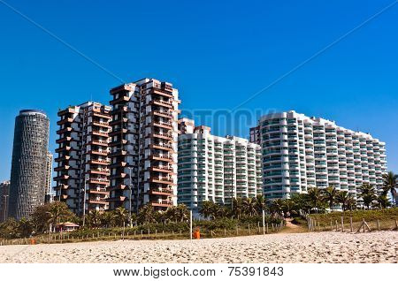 Barra da Tijuca Beach with Luxury Condominium Apartment and Hotel Buildings on Sunny Day in Rio de Janeiro, Brazil. poster