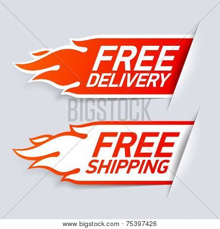 Free Delivery and Shipping labels. Vector.