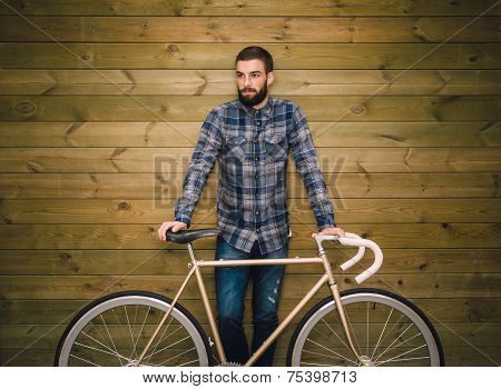 Hipster Man With His Bike