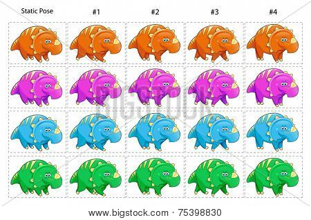 Animation of four funny dinosaurs walking. Four walking frames + 1 static pose. Vector cartoon isolated character/frames.