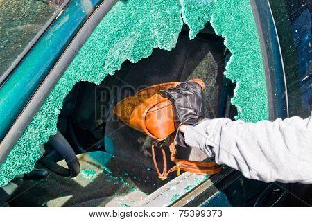 a thief stole a purse from a car through a broken side window.