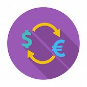 Currency exchange. Single flat color icon. Vector illustration. poster